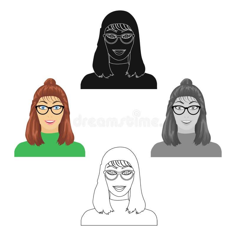 La cara de la muchacha s está llevando los vidrios Cara e icono del aspecto solo en la historieta, acción negra del símbolo del v libre illustration