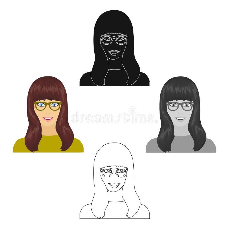 La cara de la muchacha s est? llevando los vidrios Cara e icono del aspecto solo en la historieta, acci?n negra del s?mbolo del v stock de ilustración