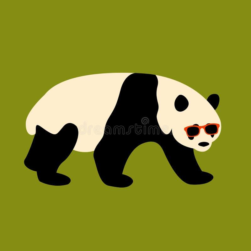 La cara de la panda en vidrios vector el plano del estilo del ejemplo stock de ilustración
