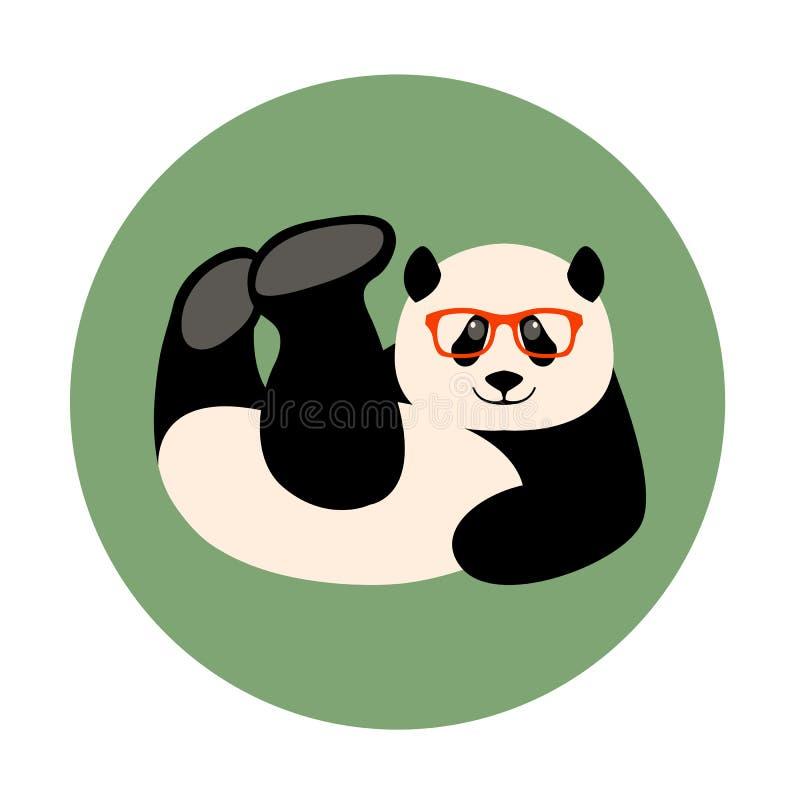La cara de la panda en vidrios vector el plano del estilo del ejemplo libre illustration