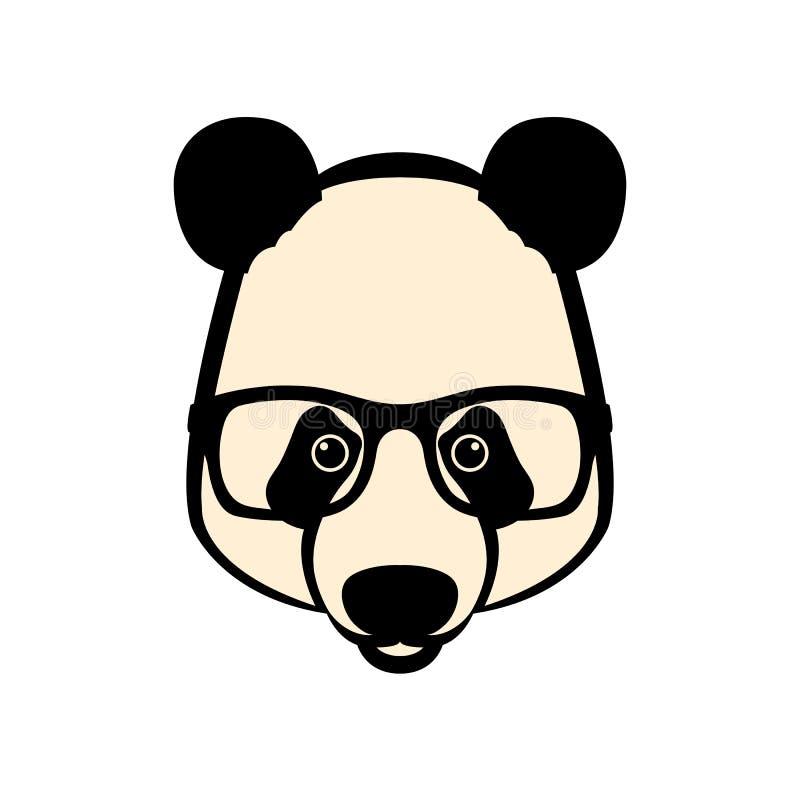 La cara de la panda en vidrios vector el plano del estilo del ejemplo ilustración del vector