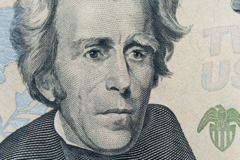 La cara de presidente Andrew Jackson aparece en la cuenta $20 La primera cuenta $20 fue publicada por el gobierno en 1914 imagen de archivo