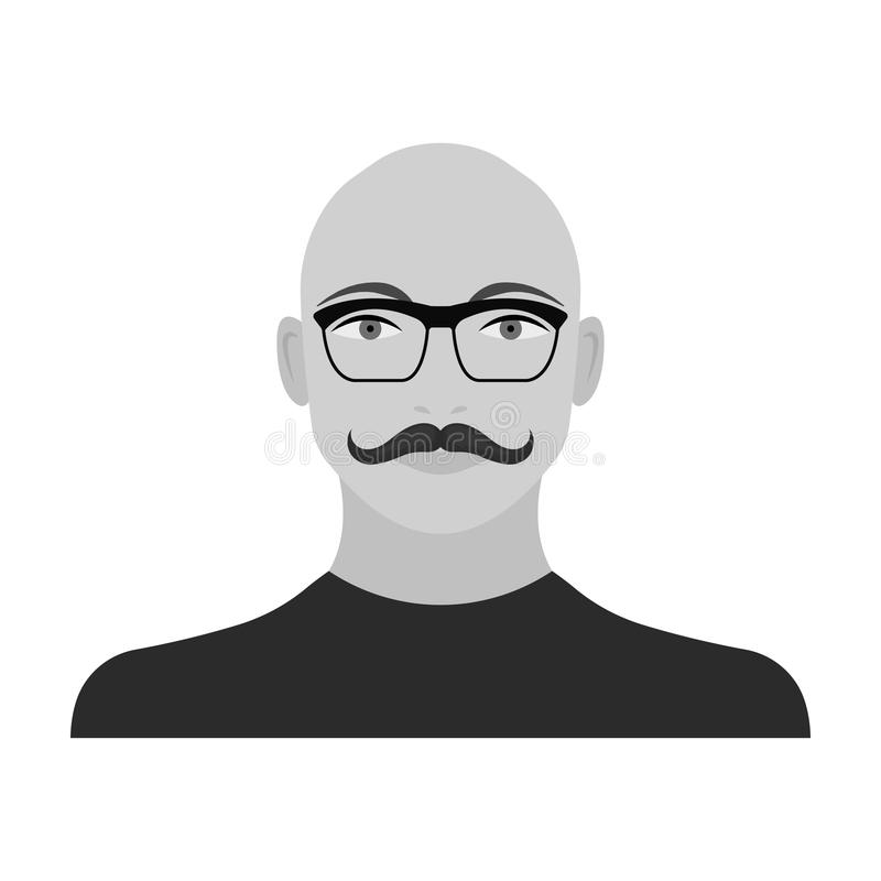 La cara de un hombre calvo con un bigote en vidrios La cara e icono del aspecto el solo en estilo monocromático vector símbolo libre illustration