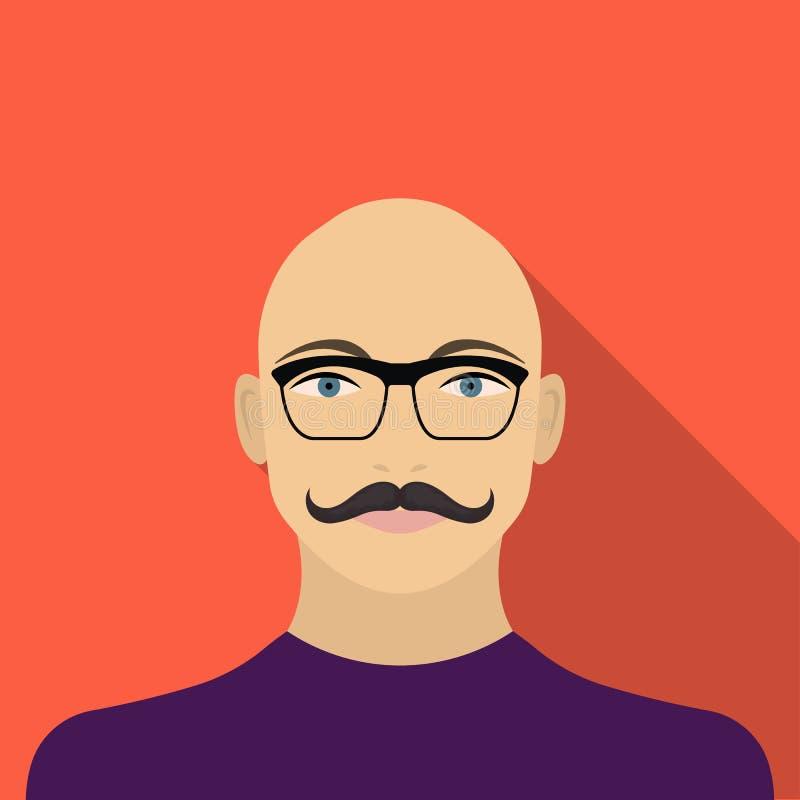 La cara de un hombre calvo con un bigote en vidrios La cara e icono del aspecto el solo en estilo plano vector la acción del símb libre illustration