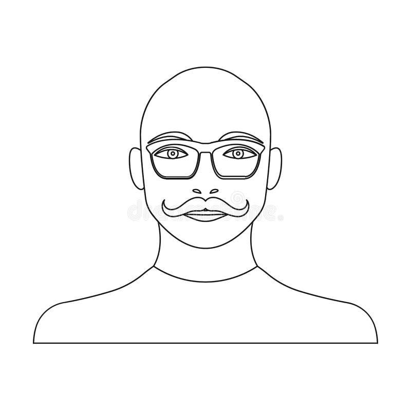 La cara de un hombre calvo con un bigote en vidrios Cara y aspecto en la acción del símbolo del vector libre illustration