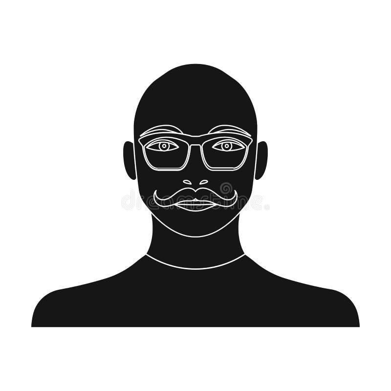 La cara de un hombre calvo con los vidrios, con una barba y un bigote La cara de un solo icono de hombre en vector negro del esti stock de ilustración