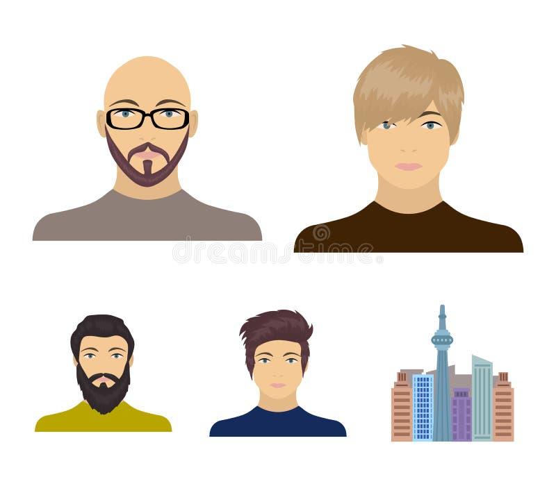 La cara de un hombre calvo con los vidrios y una barba, hombre barbudo, el aspecto de un individuo con un peinado Cara y ilustración del vector