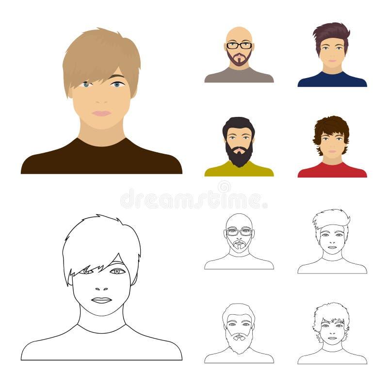 La cara de un hombre calvo con los vidrios y una barba, hombre barbudo, el aspecto de un individuo con un peinado Cara y libre illustration