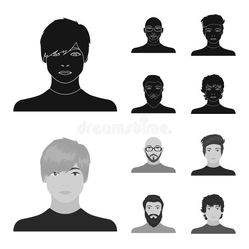 La cara de un hombre calvo con los vidrios y una barba, hombre barbudo, el aspecto de un individuo con un peinado Cara y stock de ilustración