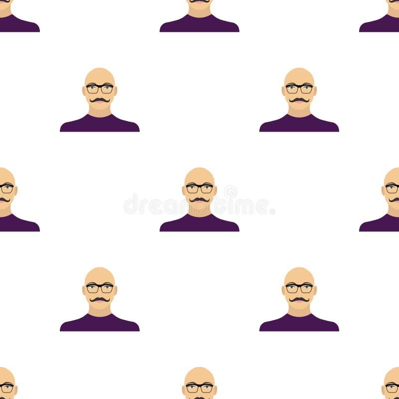 La cara de un hombre calvo con un bigote en vidrios La cara e icono del aspecto el solo en historieta diseñan la acción del símbo stock de ilustración