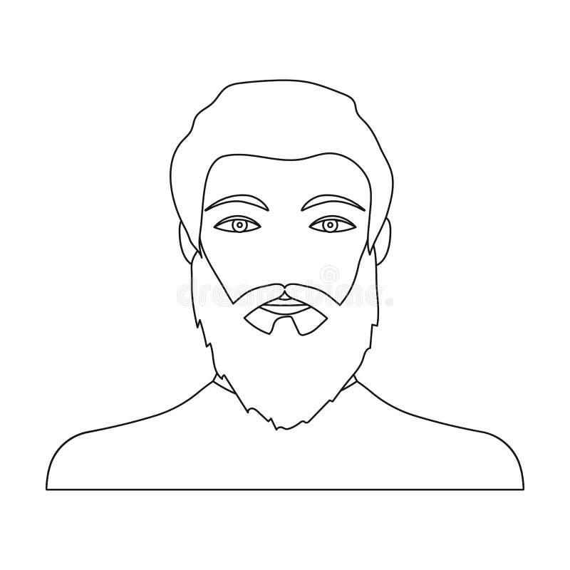 La cara de un hombre con una barba y un bigote Cara y aspecto en la acción del símbolo del vector stock de ilustración