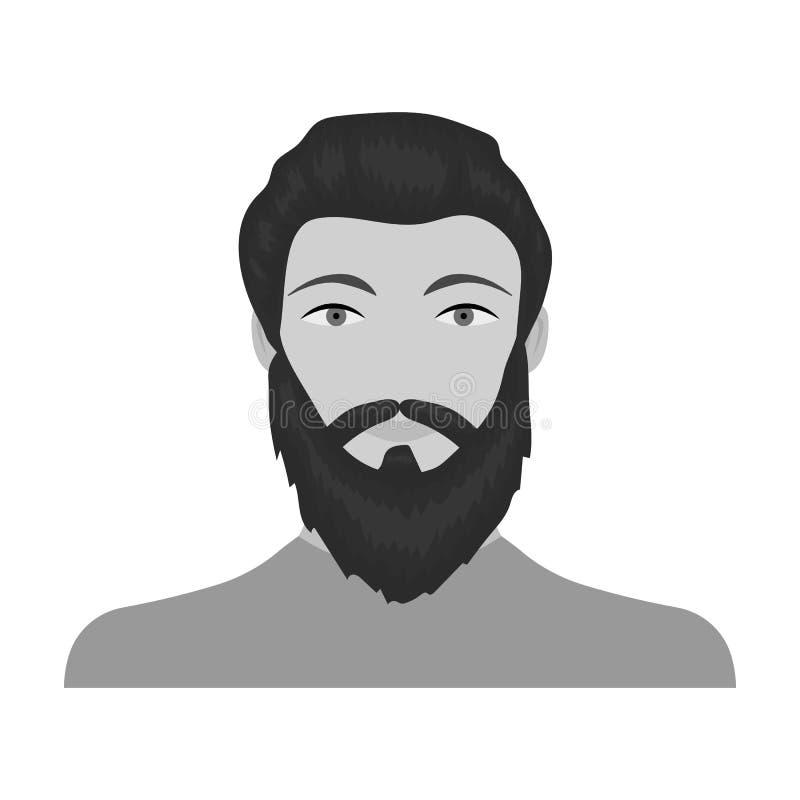 La cara de un hombre con una barba y un bigote La cara e icono del aspecto el solo en estilo monocromático vector la acción del s ilustración del vector