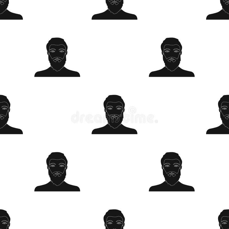 La cara de un hombre con una barba y un bigote La cara e icono del aspecto el solo en estilo negro vector la acción del símbolo libre illustration