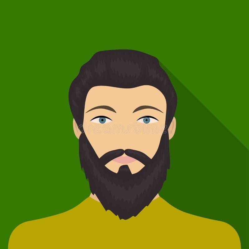La cara de un hombre con una barba y un bigote La cara e icono del aspecto el solo en estilo plano vector la acción del símbolo stock de ilustración