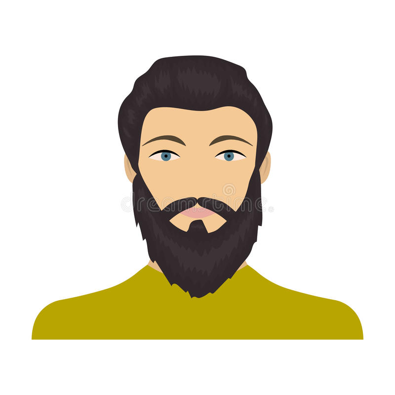 La cara de un hombre con una barba y un bigote La cara e icono del aspecto el solo en historieta diseñan la acción del símbolo de ilustración del vector
