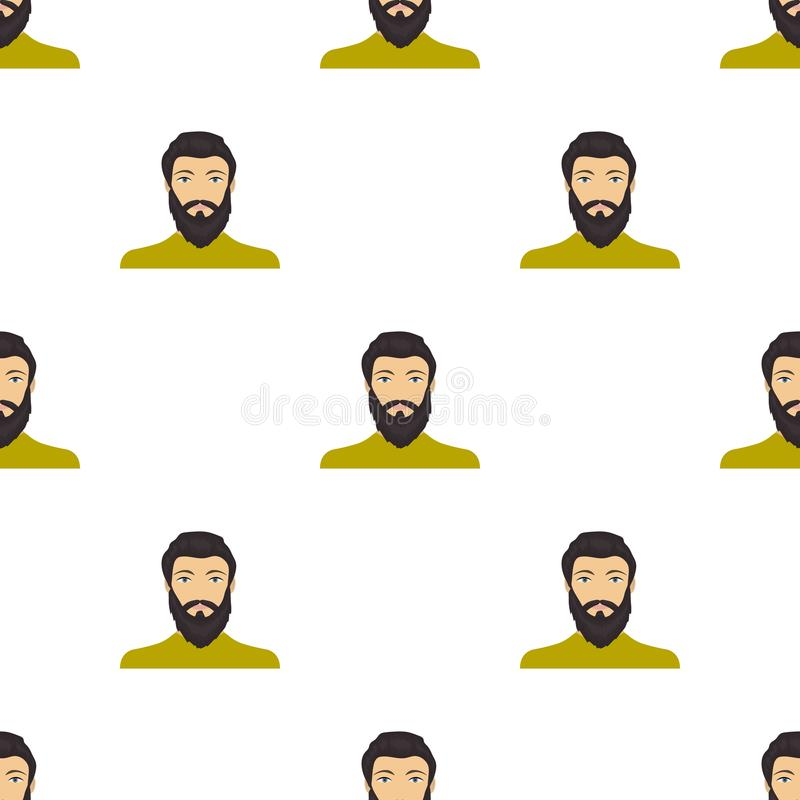 La cara de un hombre con una barba y un bigote La cara e icono del aspecto el solo en historieta diseñan la acción del símbolo de stock de ilustración