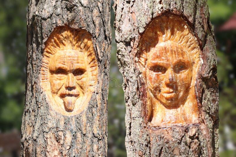 La cara de un hombre y de una mujer talló en árbol con backgrou natural fotografía de archivo