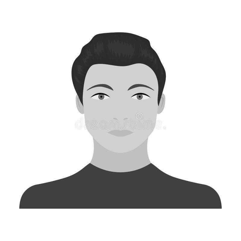 La cara de un individuo joven La cara e icono del aspecto el solo en estilo monocromático vector el web común del ejemplo del sím libre illustration