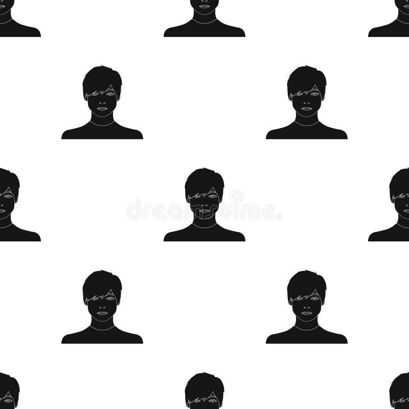 La cara de un individuo joven La cara e icono del aspecto el solo en estilo negro vector el web común del ejemplo del símbolo libre illustration