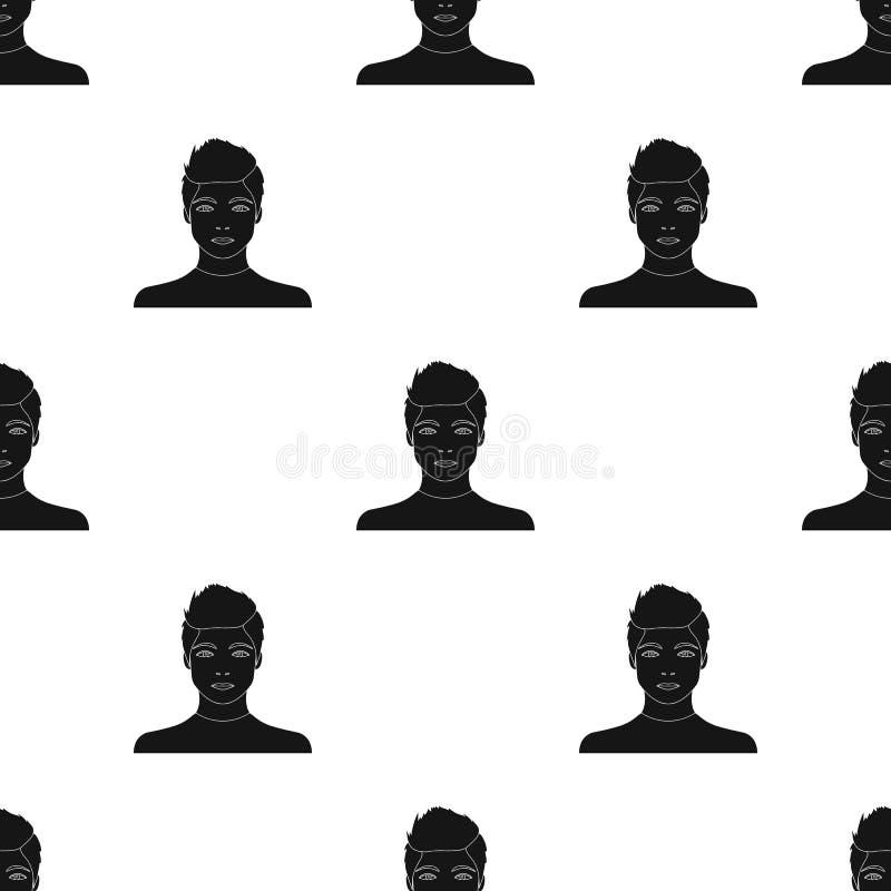 La cara de un individuo joven La cara e icono del aspecto el solo en estilo negro vector el web común del ejemplo del símbolo ilustración del vector
