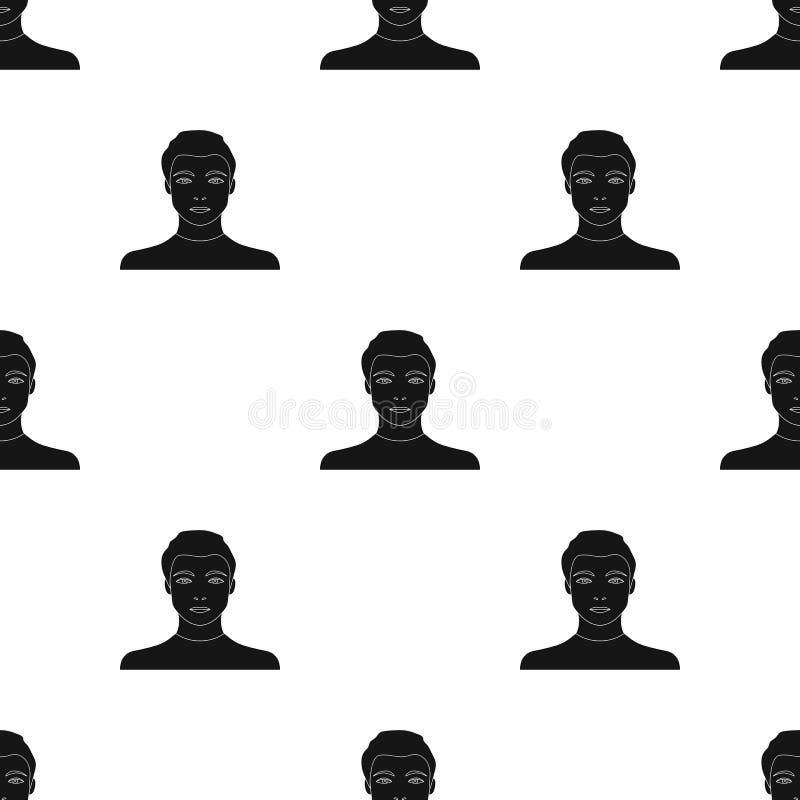 La cara de un individuo joven La cara e icono del aspecto el solo en estilo negro vector el web común del ejemplo del símbolo stock de ilustración