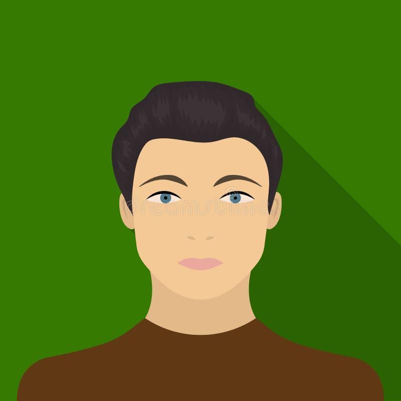 La cara de un individuo joven La cara e icono del aspecto el solo en estilo plano vector el web común del ejemplo del símbolo ilustración del vector