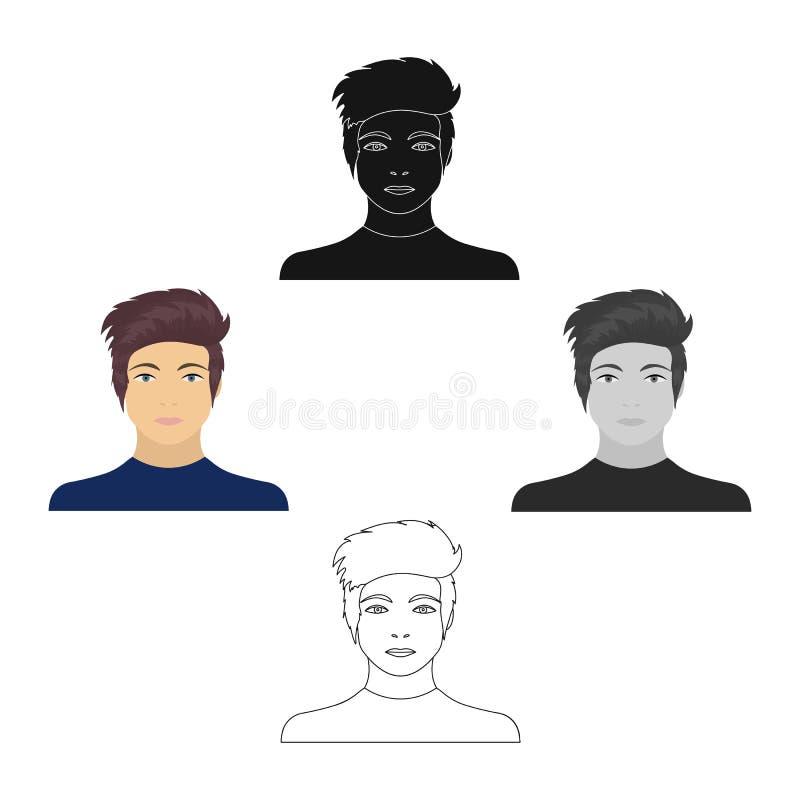 La cara de un individuo joven La cara e icono del aspecto el solo en historieta diseñan el web del ejemplo de la acción del símbo stock de ilustración