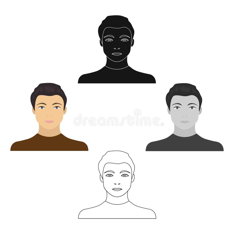 La cara de un individuo joven Cara e icono del aspecto solo en la historieta, web negra del ejemplo de la acci?n del s?mbolo del  libre illustration