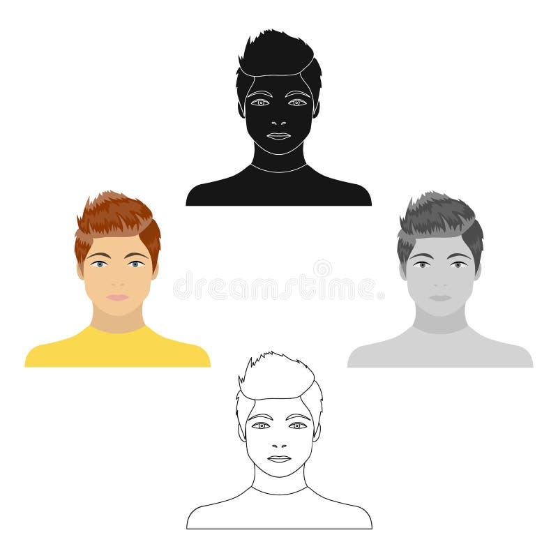 La cara de un individuo joven Cara e icono del aspecto solo en la historieta, web negra del ejemplo de la acci?n del s?mbolo del  ilustración del vector