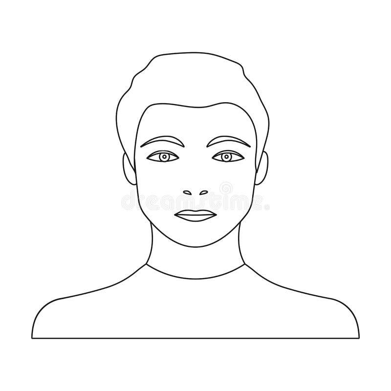 La cara de un individuo joven La cara y el aspecto en símbolo del vector almacenan el web del ejemplo stock de ilustración