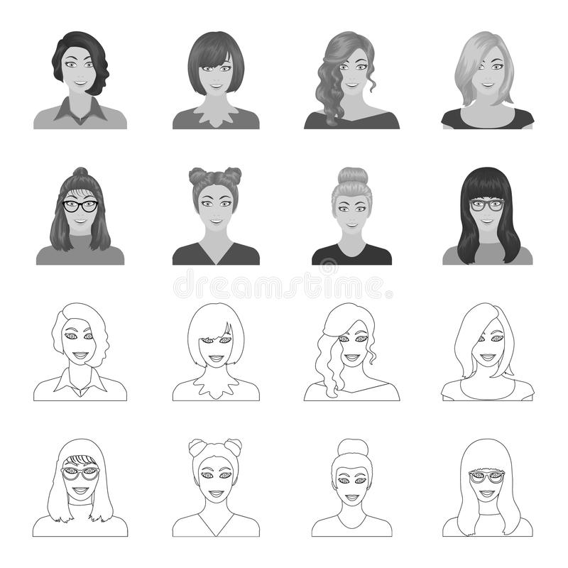 La cara de una muchacha con los vidrios, mujer con un peinado Cara e iconos determinados de la colección del aspecto en el esquem libre illustration
