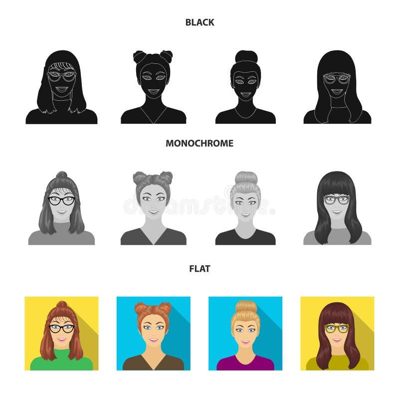 La cara de una muchacha con los vidrios, mujer con un peinado Cara e iconos determinados de la colección del aspecto en el negro, stock de ilustración