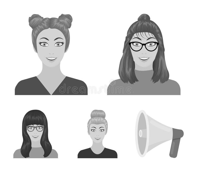 La cara de una muchacha con los vidrios, mujer con un peinado Cara e iconos determinados de la colección del aspecto en estilo mo ilustración del vector