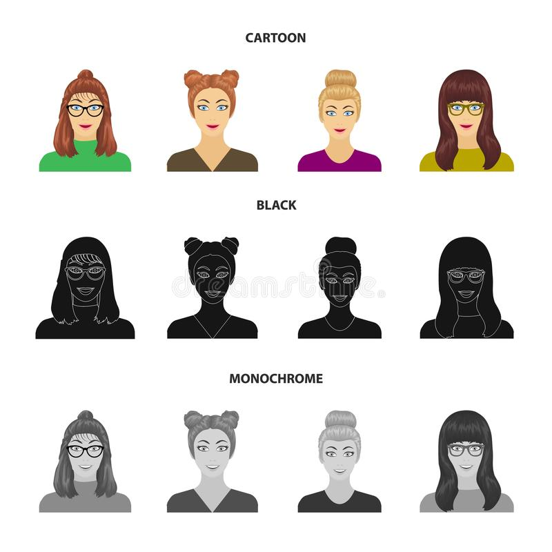 La cara de una muchacha con los vidrios, mujer con un peinado Cara e iconos determinados de la colección del aspecto en la histor libre illustration