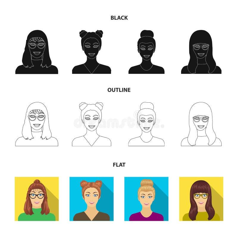 La cara de una muchacha con los vidrios, mujer con un peinado Cara e iconos determinados de la colección del aspecto en negro, pl ilustración del vector