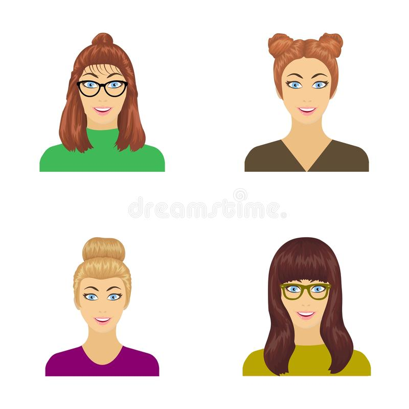 La cara de una muchacha con los vidrios, mujer con un peinado Cara e iconos determinados de la colección del aspecto en vector de stock de ilustración