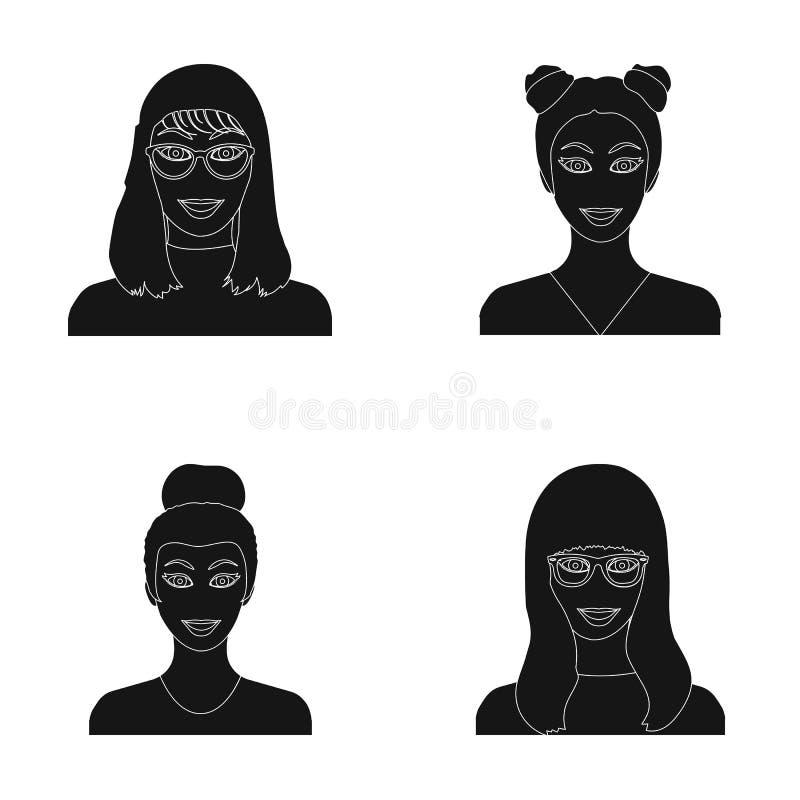 La cara de una muchacha con los vidrios, mujer con un peinado Cara e iconos determinados de la colección del aspecto en vector ne stock de ilustración