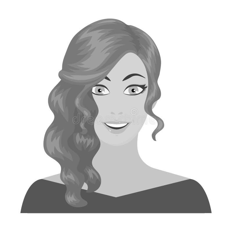 La cara de una mujer con un peinado La cara e icono del aspecto el solo en estilo monocromático vector el ejemplo común del símbo ilustración del vector
