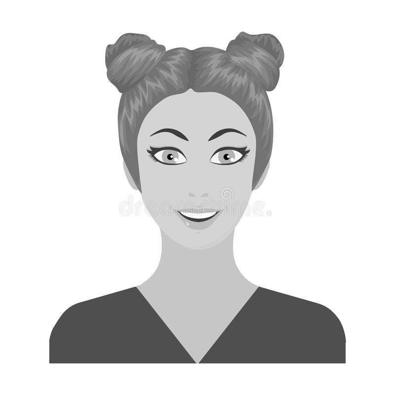 La cara de una mujer con un peinado La cara e icono del aspecto el solo en estilo monocromático vector el ejemplo común del símbo libre illustration