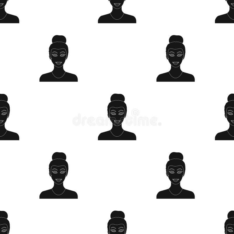 La cara de una mujer con un peinado La cara e icono del aspecto el solo en estilo negro vector el web común del ejemplo del símbo ilustración del vector