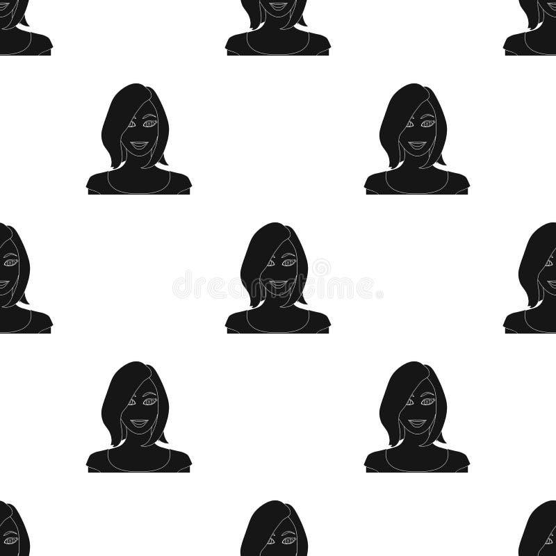 La cara de una mujer con un peinado La cara e icono del aspecto el solo en estilo negro vector el web común del ejemplo del símbo stock de ilustración