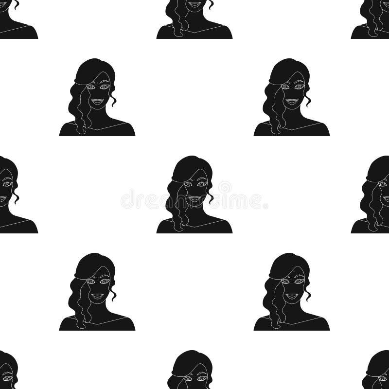 La cara de una mujer con un peinado La cara e icono del aspecto el solo en estilo negro vector el web común del ejemplo del símbo libre illustration