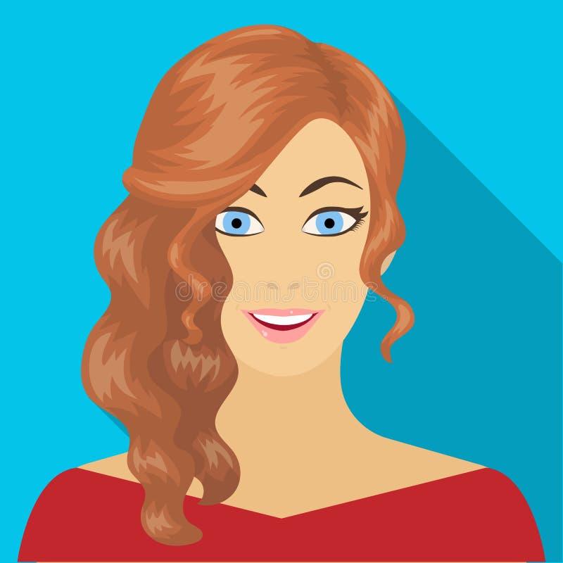 La cara de una mujer con un peinado La cara e icono del aspecto el solo en estilo plano vector el web común del ejemplo del símbo libre illustration