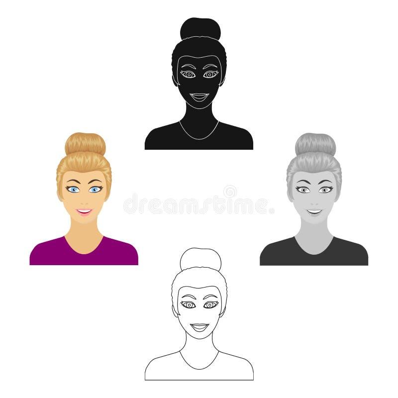 La cara de una mujer con un peinado Cara e icono del aspecto solo en la historieta, acci?n negra del s?mbolo del vector del estil stock de ilustración