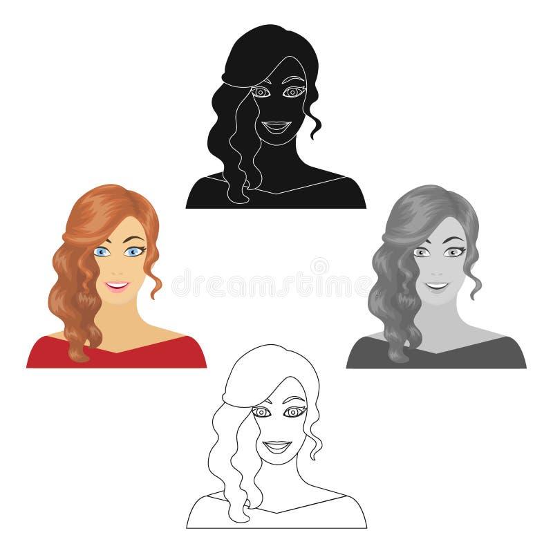 La cara de una mujer con un peinado Cara e icono del aspecto solo en la historieta, acci?n negra del s?mbolo del vector del estil libre illustration