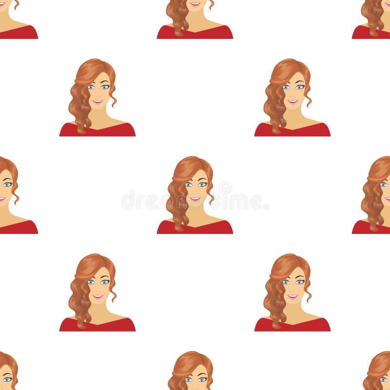 La cara de una mujer con un peinado La cara e icono del aspecto el solo en historieta diseñan el web del ejemplo de la acción del stock de ilustración