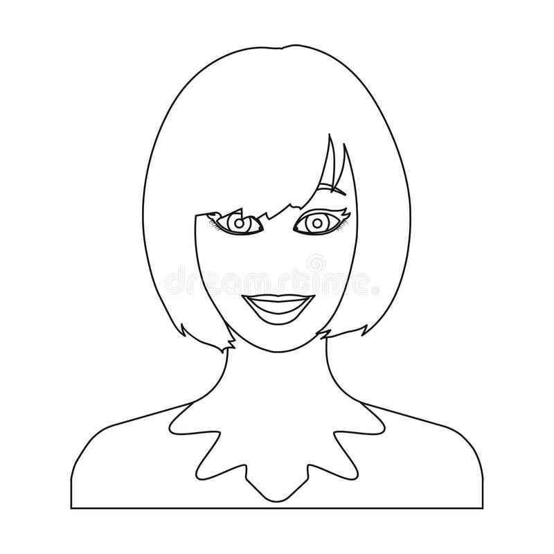 La cara de una mujer con un peinado La cara y el aspecto en símbolo del vector almacenan el web del ejemplo libre illustration
