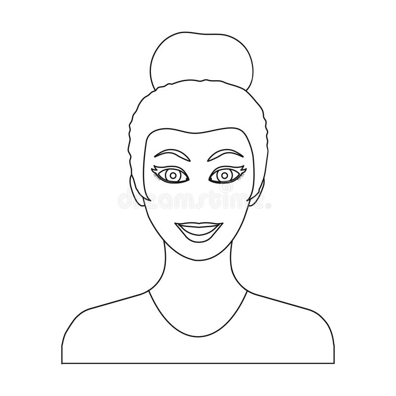 La cara de una mujer con un peinado La cara y el aspecto en símbolo del vector almacenan el web del ejemplo stock de ilustración