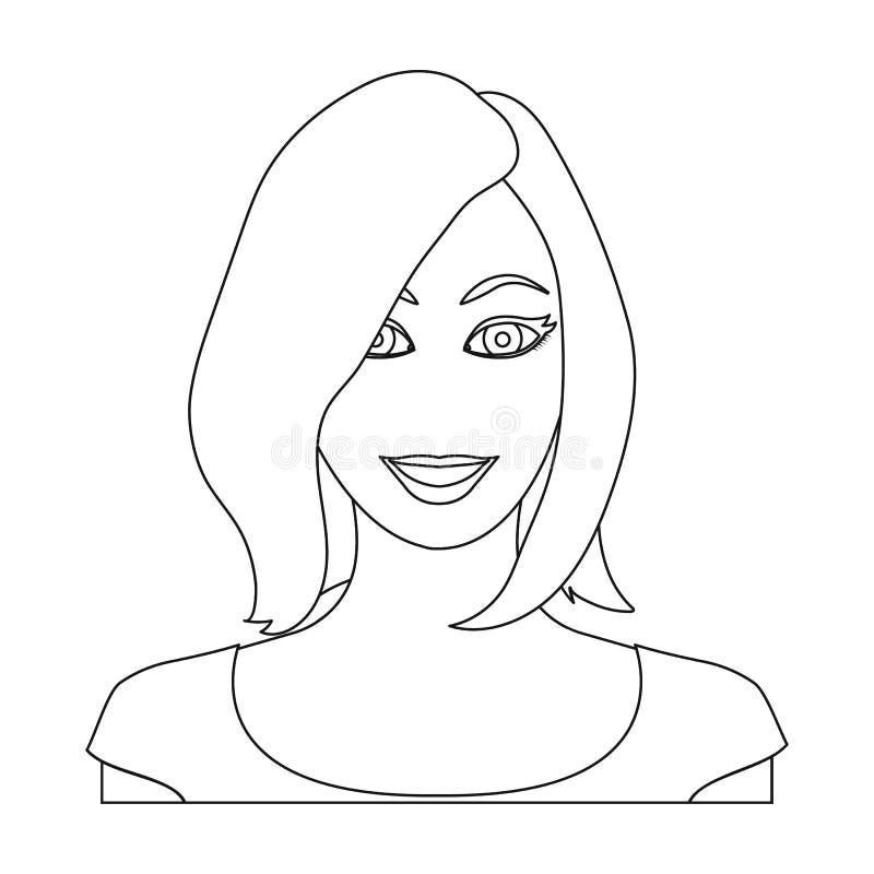 La cara de una mujer con un peinado La cara y el aspecto en símbolo del vector almacenan el web del ejemplo ilustración del vector