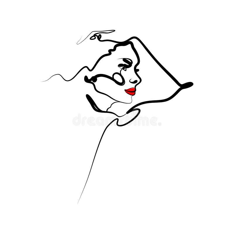 La cara de una mujer en perfil en el estilo de moda del esquema Bosquejo linear minimalistic del extracto stock de ilustración